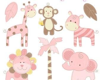 Pink Baby Pastel Safari Cute Digital Clipart - Commercial Use OK - Baby Safari Clipart - Pink Safari Animal Graphics