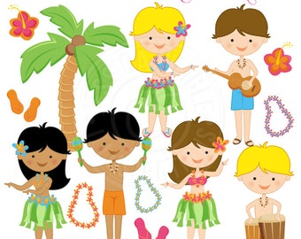 Hula Party Cute Digital Clipart - Commercial Use OK - Hula Graphics, Tiki Clipart, Tropical Graphics, Grass Skirt