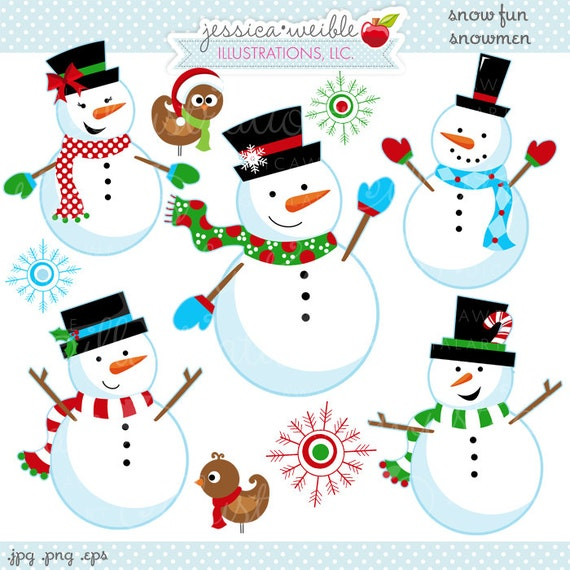 Snow Fun Snowmen Cute Digital Clipart - Commercial Use OK - Christmas ...