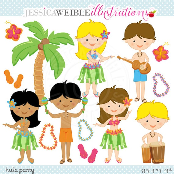 Hula Party Cute Digital Clipart Commercial Use OK Hula