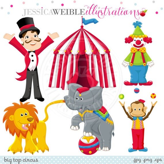 Big Top Circus Cute Digital Clipart for Card Design, Scrapbooking, and Web Design