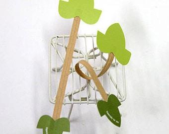 10 Handmade Twist Ties - Green Leaf (6 x 1.6in)