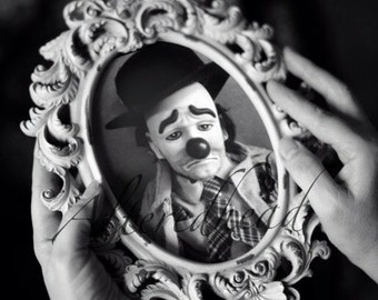 Tears Of A Clown The Sad Story Altered Photo By AlteredHead Sad Clown Face Black And White Photograph Modified Art Prints Etsy  Alteredhead
