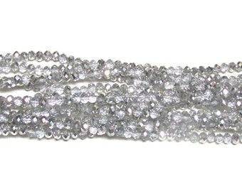 3x4mm Metallic Halftone Platinum Faceted Crystal Rondelle Beads (50)