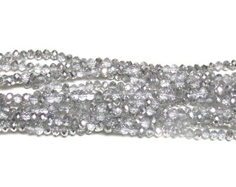3x4mm Metallic Halftone Platinum Faceted Crystal Rondelle Beads