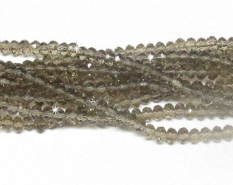 3x4mm Gray Faceted Crystal Rondelle Beads