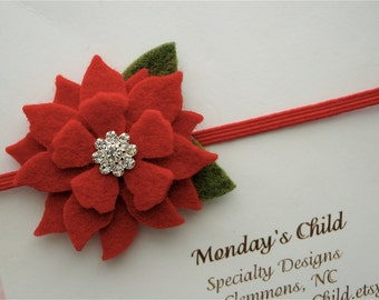 Poinsettia Felt Flower Headband, Christmas Baby Headband, Newborn Headband, Baby Headband, Toddler Headband, Girls Headband