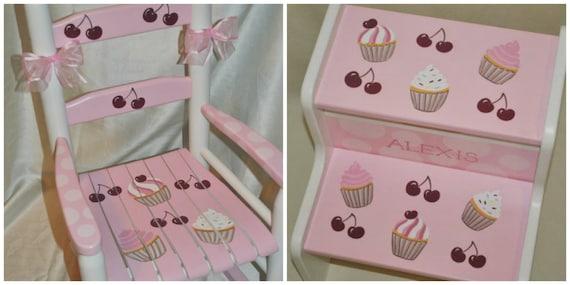 Childrens Custom Hand Painted Pink Cupcakes Girls Kids Rocking Chair - Baby Shower Gift, Nursery Furniture, Painted Child Chair, Baby Gift