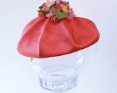 Fabulous Red Hat with Millinery Flowers Vintage Red Straw Hat