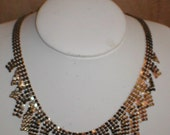 Vintage Whiting and Davis Gold Metal Mesh Necklace