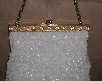 Vintage White Beaded & Rhinestone Evening  Purse