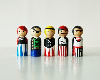 Pirates - Set of 5 Wooden Peg Dolls  - Zooble - Unique Gift