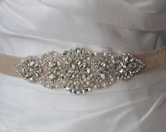 "Velvet Skinny Sash, Swarovski Crystal Wedding Belt, Rhinestone and Pearl Bridal Sash, 5.75"" of Beading, Custom Colors - MOULANT AMELIE"