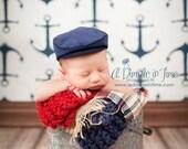 Newsboy Baby Flat Cap, Newborn Infant Photo Prop, Vintage Style News Boy Hat, Derby, Skally, Skully, Golfers, Wedding, Irish Tan Corduroy