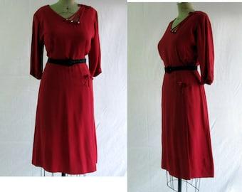 Vintage 1950s Cranberry Sheath Dress A Mendel Creation Med/Large