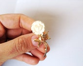 Vintage carved rose pin with Gold leaves Carved celluloid Brooch,