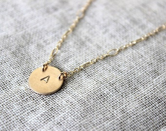 The Pop Star Necklace  in Gold Filled- Simple Any Initial Necklace