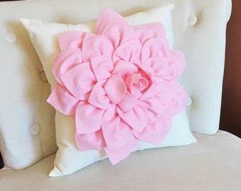 16 x 16 Light Pink Dahlia Flower on Ivory Pillow Accent Pillow Throw Pillow Toss Pillow Baby Nursery Pillow