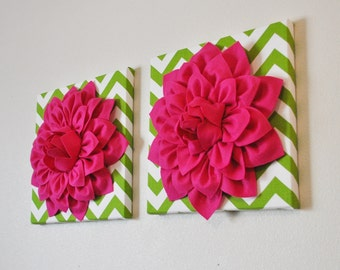 "TWO Flower Wall Hangings- Hot Pink Dahlia on Chartreuse and White Chevron 12 x12"" Canvas Wall Art- Baby Nursery Wall Decor-"