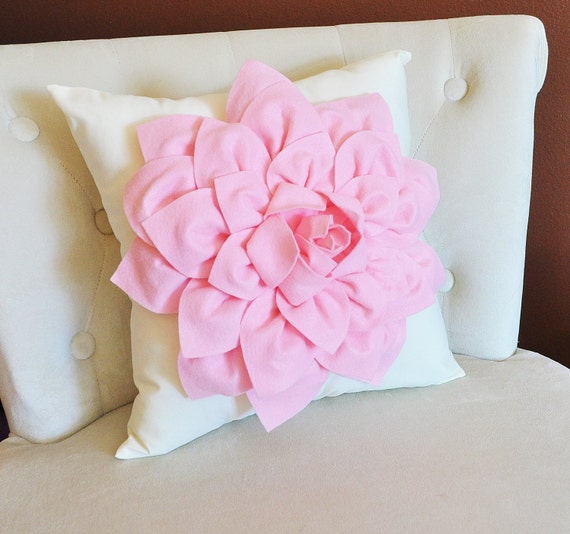 Light Pink Dahlia Flower on Ivory Pillow Accent Pillow by bedbuggs