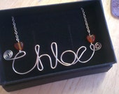 Name necklace, personalised jewellery, wire name necklace, personalised necklace, bridesmaids gifts, bridal jewellery