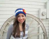 Colorado Flag Headband, Colorado Ear Warmer, Blue, White, Red and Yellow Headband, Womens, Crochet
