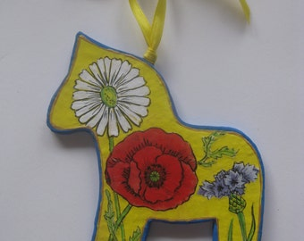 Swedish DALA HORSE with Flowers,  Papier-Mache'