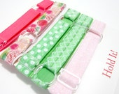 Adjustable Elastic Headband Hair Band Girl Baby Woman Headband Sport Headband- 5 In Set Pink Green Polka Dot Floral