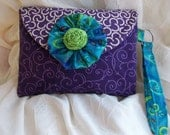 Purple and Teal Mini Clutch Wristlet Wallet Cell Phone Bag Purse Reserved for Amelia