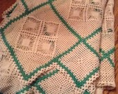 Vintage Crocheted tablecloth handmade Cream and Green