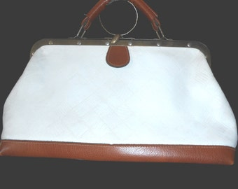 Womens Leather Handbags Womens Purses White Leather Bag Vintage Purse Womens Handbags Vintage Handbags Doctors Bag Vintage Accessories