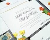 Cactus and Flower - Southwestern Desert Inspired Wedding Invitation Suite - 100# Ivory Stock