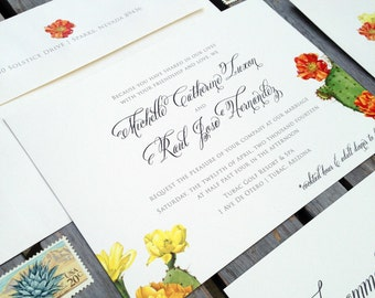 Cactus and Flower - Southwestern Desert Inspired Wedding Invitation Suite - 100# Ivory Stock