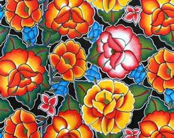 Colorful Oil Cloth Tehuana Black Flower 1 Yard Oilcloth