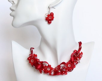 Red Flower Bridesmaid Cluster Necklace and Earrings Set