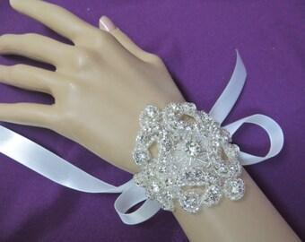 Rhinestone Bridal Bracelet, Ribbon Crystal Cuff, Wedding Crystal Bracelet, Bridal Ribbon Bracelet