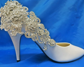 Bridal Shoe Clips,  Manolo Blahnik Shoes, Rhinestone Shoe Clips, Wedding Shoe Clips, Bridal Shoe Accessory
