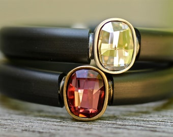 SALE , Crystal Bracelet , Rubber Bangle , Arm Candy , Gem Tone Jewelry , Rubber Bracelet , Crystal Bangle ,  As Seen in VOGUE