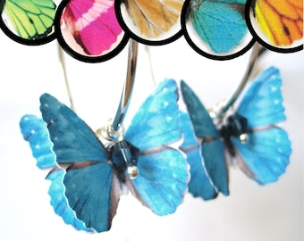 Butterfly Gifts - Paper Earrings - Unique Hoop Earrings With Beads - Large Hoop Earrings - Paper Wedding Anniversary Gift For Her