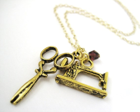 Gold Sewing Machine Necklace - Seamstress Jewelry - Gift For Sewer - Birthstone Necklace
