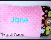 Personalized Pillow Case- Bubblegum Pink Minky with Chocolate Brown Flowers
