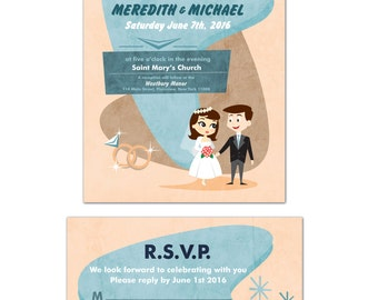 Retro Bride and Groom Wedding Invitation, or RSVP