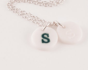 Sterling Silver Necklace with One Stamped Porcelain Charm ,Personalized Jewelry, Personalized Initial Necklace,Customize Initial, Monogram