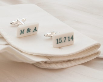 Personalised white engraved stamped porcelain cufflinks with bright colorful glazed  letters ,numbers,dates,initials, customize jewelry