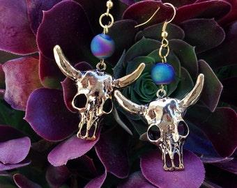 Skull Earrings/ Steer Earrings/ Druzy Jewelry/ Druzy Earrings/ Natural Gem Stone/ Western Jewelry/ Boho Chic/ Geode Earrings/ Cowgirl