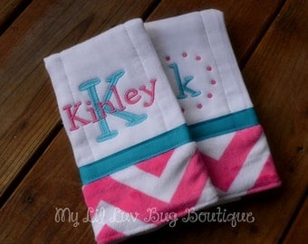 Personalized Burp cloth set prefold diaper- turquoise with fuchsia and white chevron print- set of two