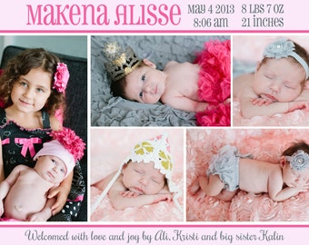 Birth Announcement - Newborn - Sweet Baby - 3 Picture Back - 1 Picture Front - Can be Single Sided