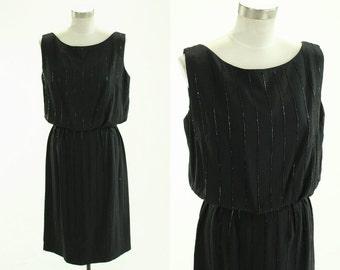 1950's Beaded Cocktail Dress Black M L