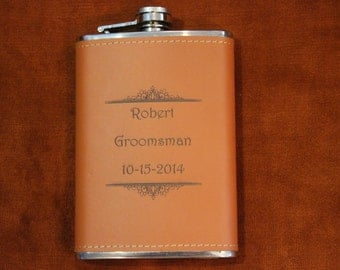 Personalized Engraved Leather Flask 8 oz, Groomsmen flask, Bridal party gift, Leather flask, 8 oz Flask, Engraved Flask, Wedding