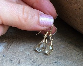 Petite Citrine Earrings.  Gold fill, rose gold fill or Sterling Silver